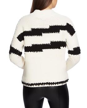 1.STATE - Striped Multi-Texture Sweater