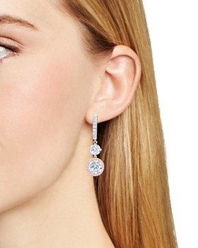 Crislu - Fiore Cluster Drop Earrings in Platinum-Plated Sterling Silver or 18K Rose Gold-Plated Sterling Silver