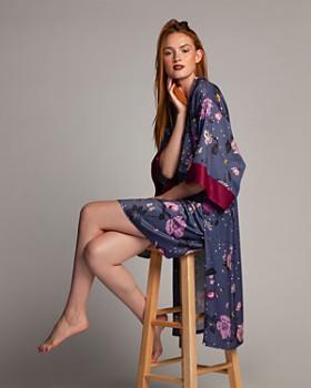 Midnight Bakery - Satin Floral-Print Midi Robe