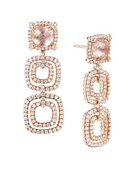 David Yurman - 18K Gold Châtelaine®  Pavé Diamond & Gemstone Triple Drop Earrings