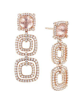 David Yurman - Châtelaine®  Pave Bezel Triple Drop Earring in 18K Rose Gold with Morganite