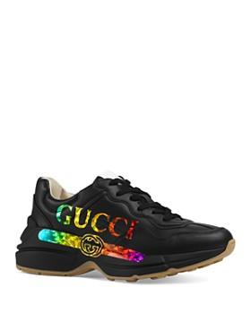 Gucci - Women's Rhyton Logo Leather Sneakers
