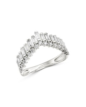 Bloomingdale's - Diamond Round & Baguette Chevron Band in 14K White Gold, 0.75 ct. t.w. - 100% Exclusive