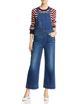 MOTHER - Greaser Cropped Wide-Leg Denim Overalls