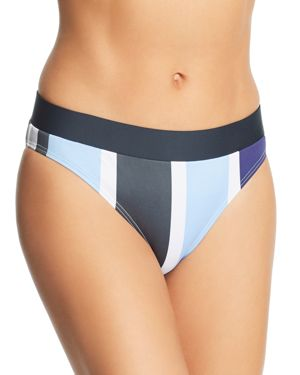 MEI L'ANGE Valentina High-Waist Bikini Bottom in Multi Stripe