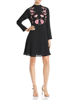 nanette Nanette Lepore - Embroidered Mock-Neck Dress