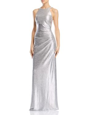 AVERY G Embellished Metallic Gown in Silver