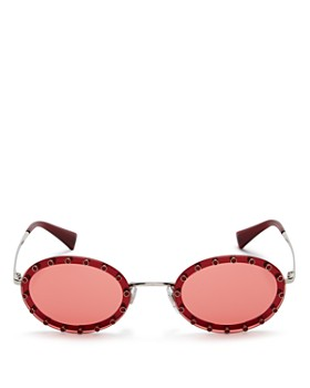 Valentino - Women's Embellished Oval Sunglasses, 51mm