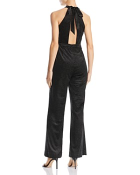 Lost and Wander - Lady Galaxy Metallic-Dot Tie-Back Jumpsuit
