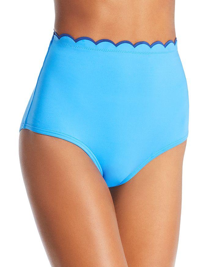 kate spade new york - Contrast Scalloped High Waist Bikini Bottom