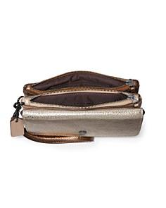 COACH - Triple Compartment Metallic Leather Wristlet