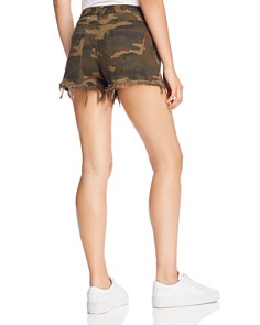 BLANKNYC - Frayed Camo Denim Shorts in Army Of One