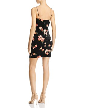 AQUA - Floral Velvet Body-Con Slip Dress - 100% Exclusive