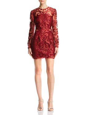 FINDERS KEEPERS Alchemy Embroidered Mini Dress - 100% Exclusive in Burgundy