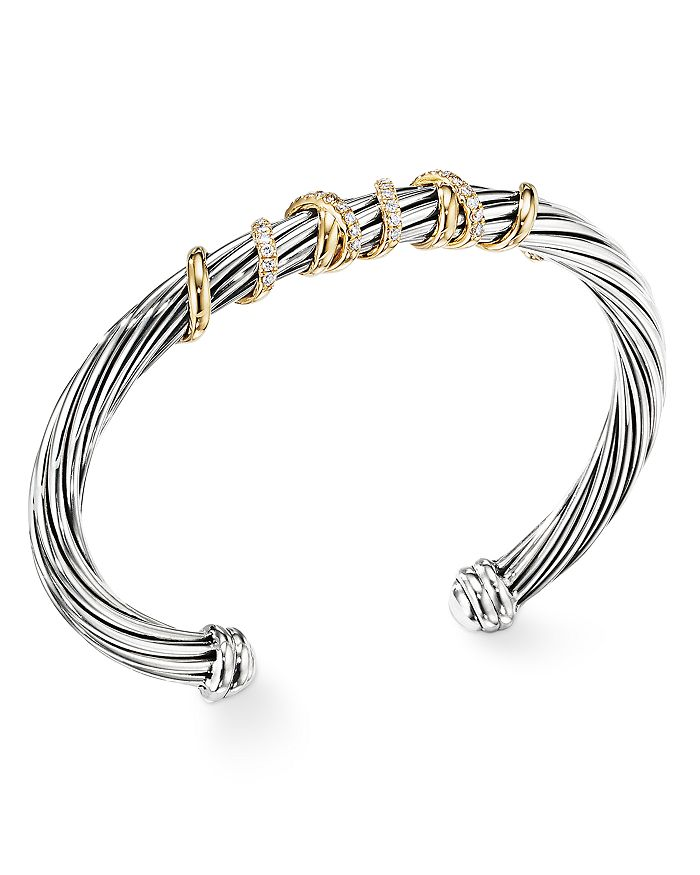 David Yurman HELENA CENTER STATION BRACELET WITH 18K GOLD & DIAMONDS