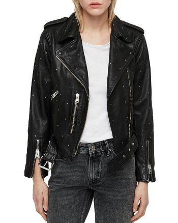 3ad551ff2 ALLSAINTS Balfern Studded Leather Biker Jacket | Bloomingdale's