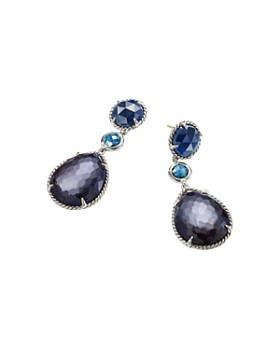 David Yurman - Chatelaine Teardrop Earrings with Black Orchid, Indian Blue Sapphire & Hampton Blue Topaz