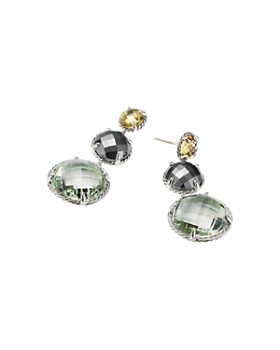 David Yurman - Chatelaine Round Drop Earrings with Olive Quartz, Hematine & Prasiolite