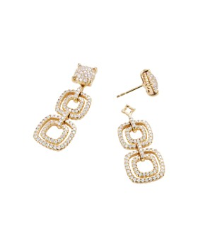David Yurman - Chatelaine Full Pavé Diamond Triple Drop Earrings in 18K Yellow Gold