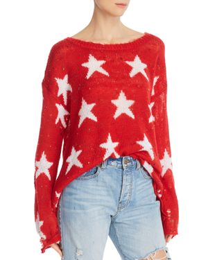 Seeing Stars Distressed Boat-Neck Sweater in Scarlet