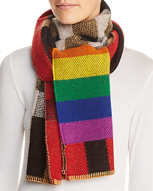 Burberry Scarves RAINBOW & CHECK CASHMERE SCARF