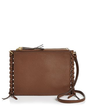 ANNABEL INGALL Everly Pebbled Leather Crossbody in Brown/Gold