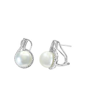 Bloomingdale's Freshwater Pearl & Diamond Halo Drop Earrings in 14K White Gold - 100% Exclusive