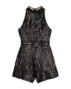 Miss Behave - Girls' Katya Sequin Romper - Big Kid