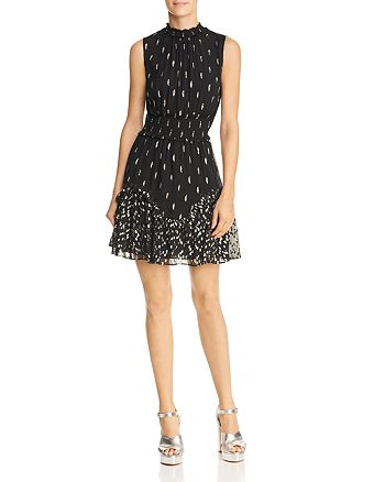 Rebecca Taylor - Sleeveless Metallic Ruffle-Hem Dress