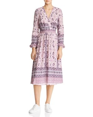 EN CREME Floral & Bandana-Print Midi Dress in Purple Multi