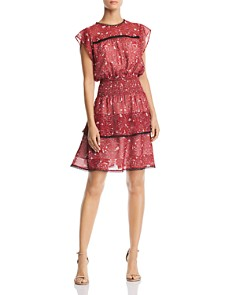 AQUA - Tiered Floral Print Dress - 100% Exclusive