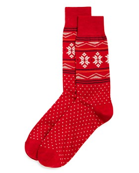 The Men's Store at Bloomingdale's - Fair-Isle Snowflake Dotted Socks - 100% Exclusive