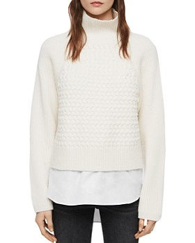 ALLSAINTS - Jones Layered-Look Cable-Knit Sweater