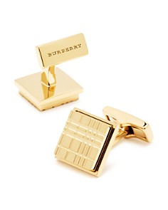 Burberry - Engraved Check Square Cufflinks