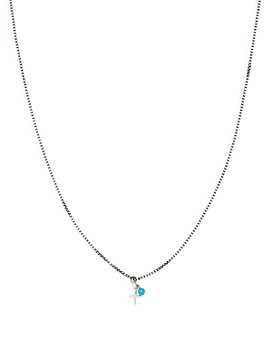 Tateossian - Sterling Silver Cross & Turquoise Pendant Necklace 18""