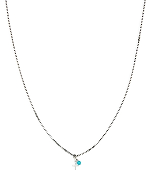 Tateossian Sterling Silver Cross & Turquoise Pendant Necklace 18