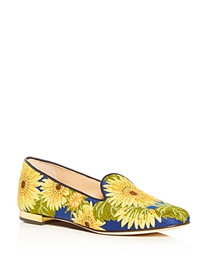 Charlotte Olympia WOMEN'S FLORAL-EMBROIDERED SMOKING SLIPPERS