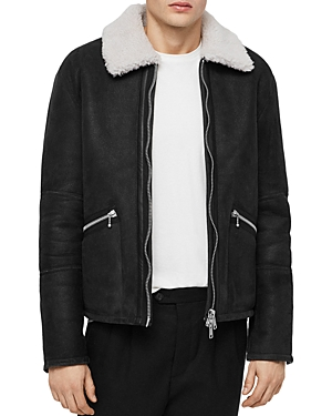 Allsaints Vaider Washed Shearling Jacket
