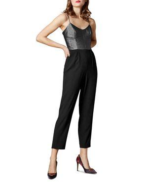 KAREN MILLEN Metallic Bodice Jumpsuit in Black Multi