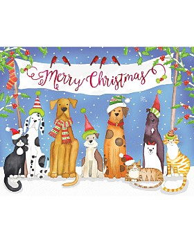 Caspari - Merry Christmas From Pets Christmas Cards, Box of 16