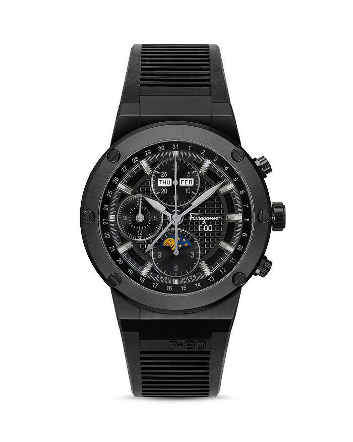 Salvatore Ferragamo F-80 Limited Edition Automatic Chronograph Rubber Strap Watch, 44Mm In Black