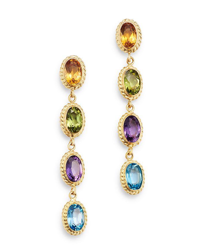 Bloomingdale's - Multi-Gemstone Oval Bezel Set Drop Earrings in 14K Yellow Gold - 100% Exclusive