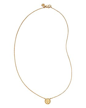 Tory Burch - Crystal Circle Logo Necklace, 16""