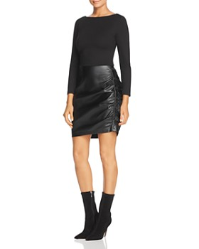 Kenneth Cole - Knit & Faux-Leather Dress