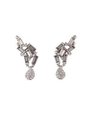 Climbing Crystal Earrings in Silver