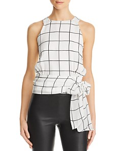MILLY - Lauren Checked Silk Top