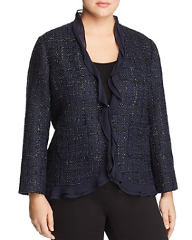 VINCE CAMUTO Plus - Ruffle-Trim Metallic-Tweed Blazer