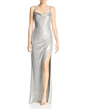 Avery G - Metallic Knit Drape-Neck Gown