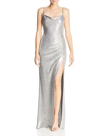 Avery G - Metallic Knit Drape-Neck Gown