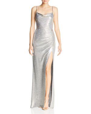 AVERY G Metallic Knit Drape-Neck Gown in Light Gold